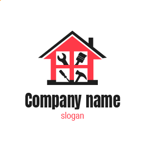 Entreprise de rénovation ? Voici un exemple de logo design travaux de batiment construction gratuit.