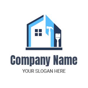 Entreprise de rénovation d'intérieur ? Voici un exemple de logo travaux renovation maison interieur.