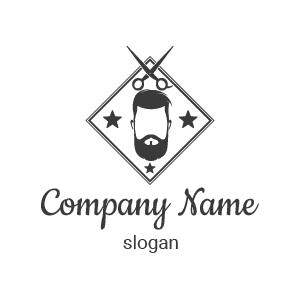 Coiffeur logo inspiration : Voici un logo coiffure homme, barber logo comportant barbe et ciseaux.