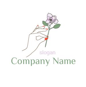 Créer un site de maquillage pas cher : voici un exemple de make-up logo, comportant main et fleur.