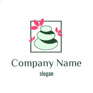 Logo inspiration bien-être : logo massage aux pierres vertes, logo détente en couleur verte.