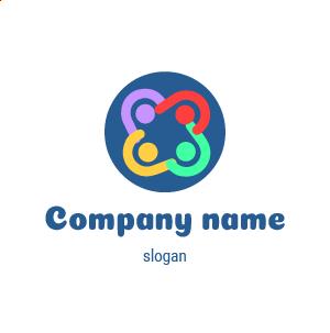 Logo agence de communication : logo réunion de travail. Dégradé de couleurs.