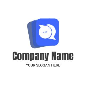 Logo agence de publicité : logo comportant des carrés superposés, couleur bleu dégradé.