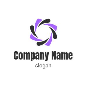 Logo entreprise de communication : logo dégradé style moderne, couleur violet et noir.