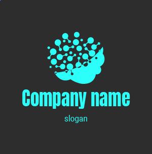 Logo société de communication : logo cerveau, mi-réseaux de neurones, mi-nuage, en couleur dégradé.