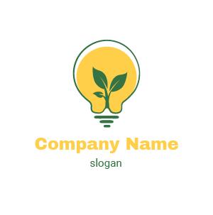 Logo écologie : exemple de logo lampe ou ampoule, symbole développement durable, orange et noir.