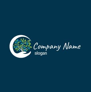 Logo écologie : mixte entre plante et eau. Logo mi-vert mi-bleu. Logo ecology.