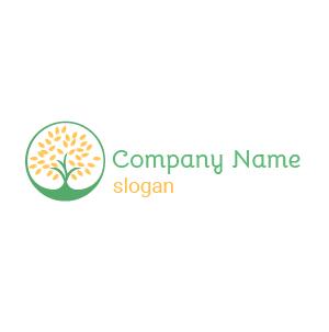 Logo développement durable : exemple de logo écologie sous forme d'un arbre circulaire, couleur vert jaune.