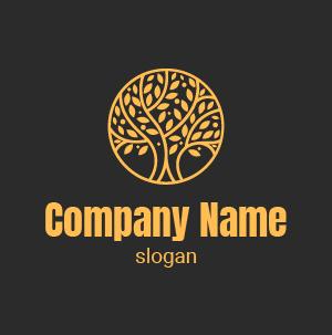 Logo environnement : exemple de logo cercle qui englobe un arbre, couleur jaune dégradé.