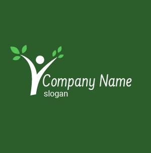 Logo environnement : créer un logo stylé, silhouette avec des feuilles vertes, logo rose et orange.