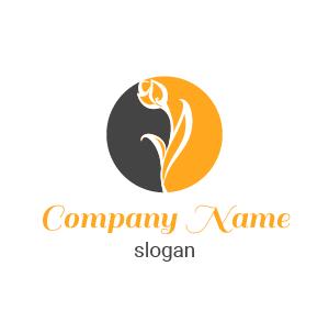 Logo blanc symbole fleur : logo design dessin de fleur blanche dans un cercle mi rouge mi mauve.