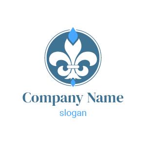 Logo inspiration fleur de lys : voici un joli logo fleur de lys dans un cercle en bleu et blanc.