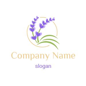 Logo fleur lavande : voici un exemple de logo fleur violette avec des feuilles vertes.