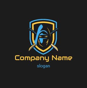 Logo jeux video : exemple de ninja logo, logo masque de ninja avec épées croisées derrière le dos.