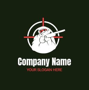 Gaming logo : logo de personnage de guerre – logo soldat sniper tireur d'élite portant un fusil.