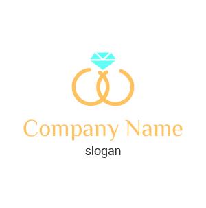 Logo eventos de boda png: logo de anillo de bodas con un diamante verde