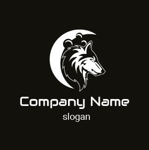 Ejemplo de logo de animal: diseño de perfil de lobo con luna