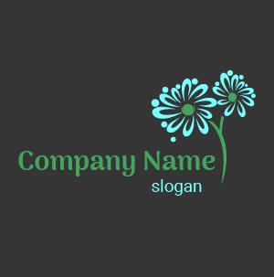 Ideas de logo: diseño de logo diseñado en flor de margarita de color turquesa.