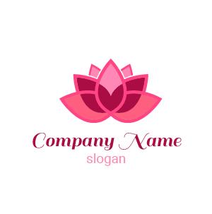 Ideas de logos: un ejemplo de un logo de flor de loto rosa elegante.