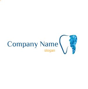 Logo de dentista creativo: logo de diente azul de aspecto vectorial.