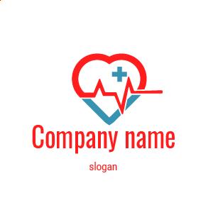 Creación de logos profesionales: diseño de logo de corazón rojo y azul, con un ritmo cardiaco