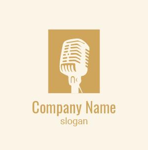 Ejemplo de logo para escuela de canto: diseño de un micrófono vintage con aspecto académico.