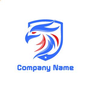 Logo de videojuegos: ejemplo de logo de un águila de color rojo y azul.