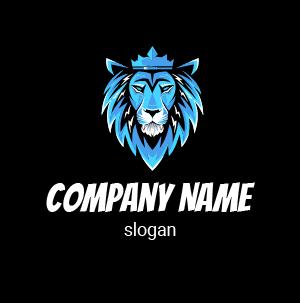 Logo para videojuegos: ejemplo de logo de léon azul y negro.