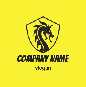 Logo gamer: Aquí está un ejemplo de diseño de logo dragón. Logo amarillo y negro.