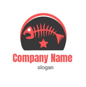 Logo gamer: ejemplo de logo. Logo de esqueleto de pescado en color azul y blanco con fondo rosado.