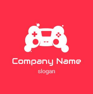Logo de videojuegos: logo un mando de videojuegos en forma de nubes. Bonito logo rojo blanco, negro.
