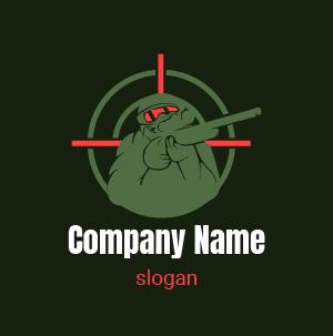 Logo gamer: logo de un personaje militar para juegoes de francotiradores.