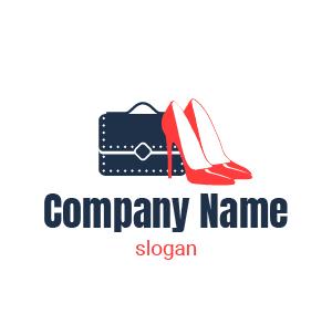 Creación de logo para tienda de zapatos para mujer: zapatos rojos con un bolso negro atrás.