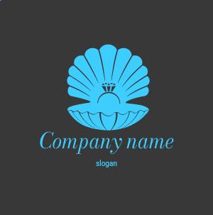 Plantilla de logo de joyería online: caja para anillo en forma de concha, en color negro.