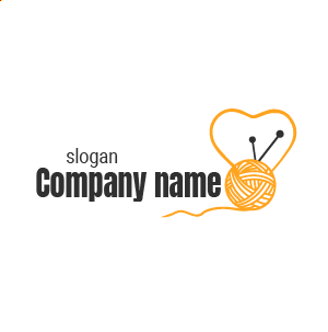 Creación de logos creativos de crochet: diseño de logo de lana rosa y amarillo con corazón.