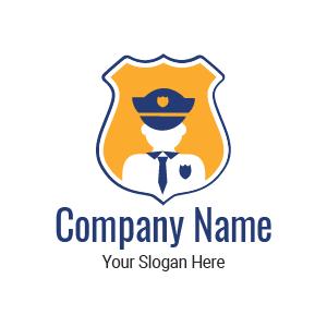 Design de logo agent de sécurité privée : exemple de logo stylé sous forme d'insigne de police.