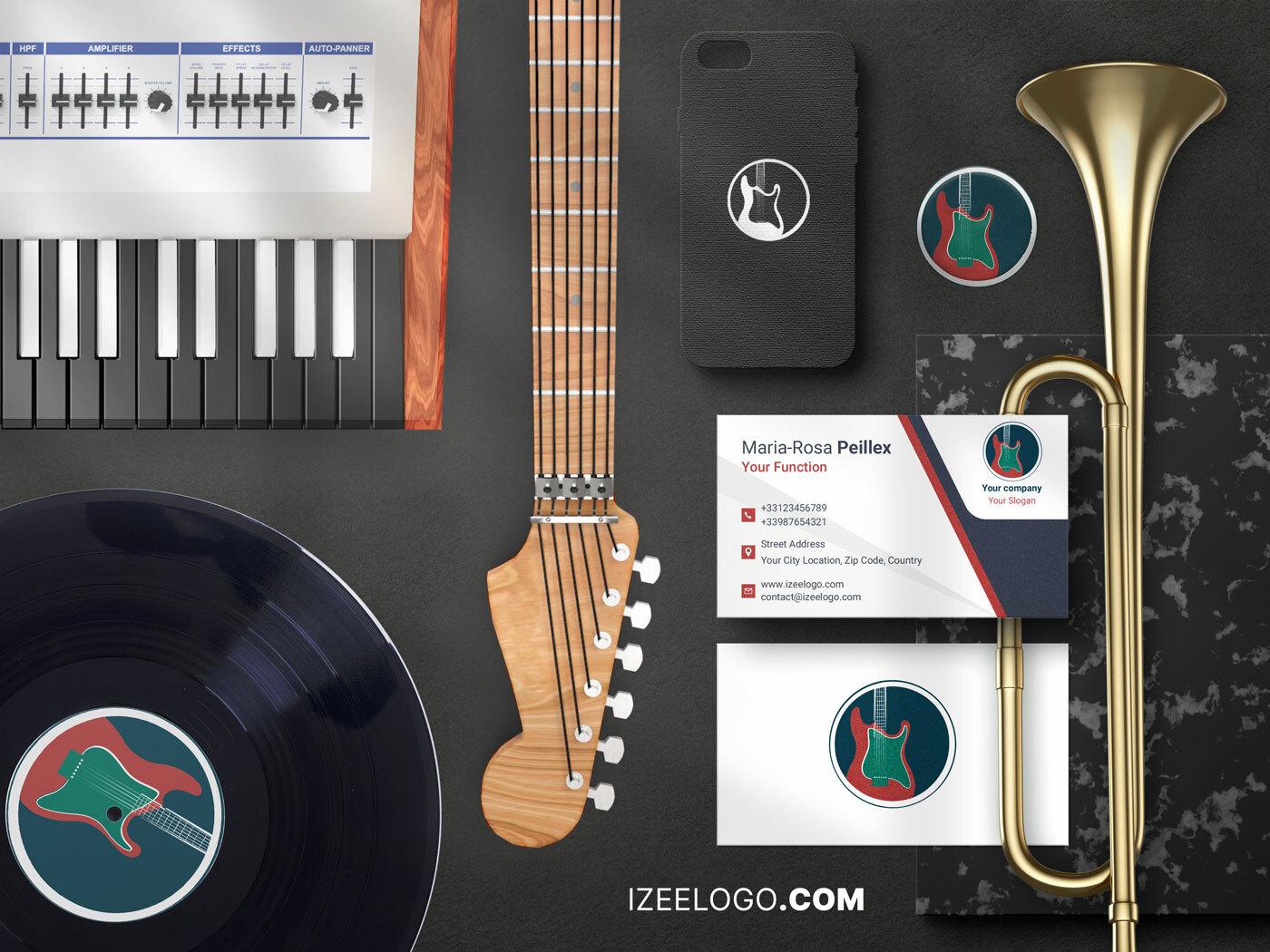 Diseño de mockup: crear una maqueta de logo de música para tarjeta de presentación.