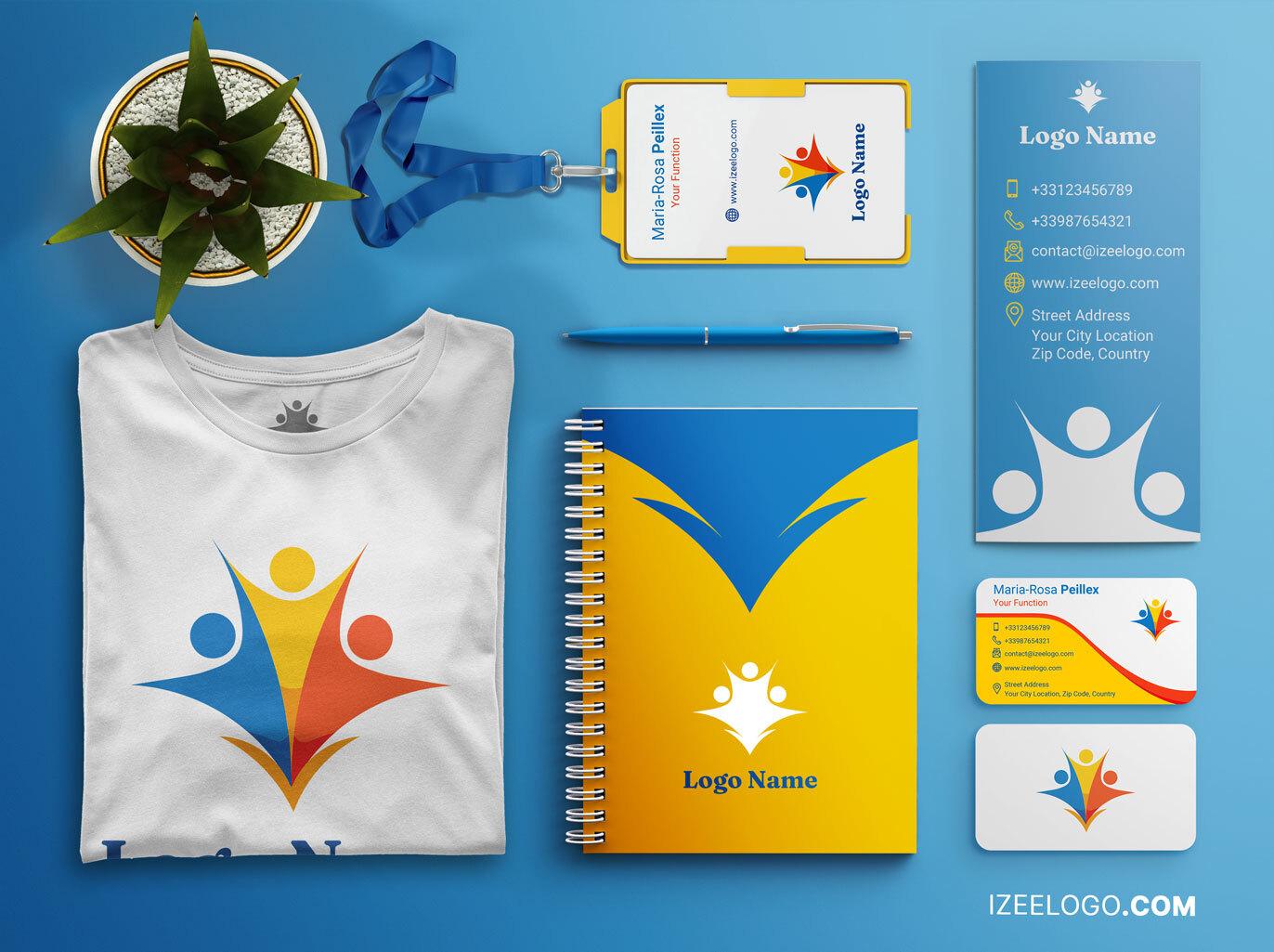Branding: Llama la atención sobre su asociación y crea tu logo versátil, original y creativo para mockup.