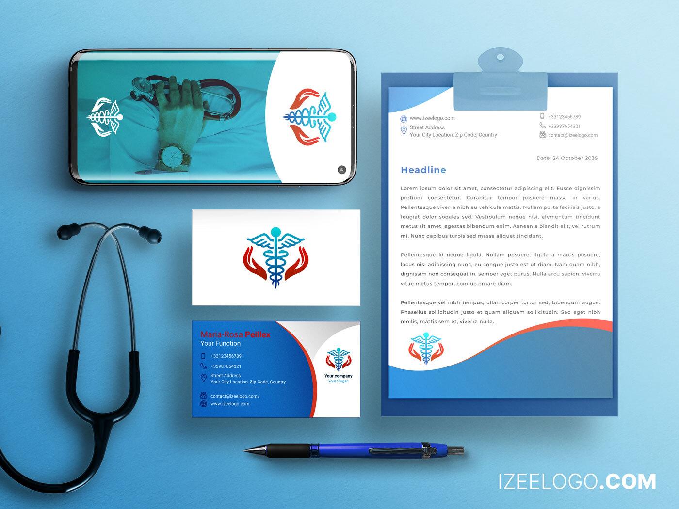 Branding: los detalles de su diseño de logo de medicina y farmacia para una tarjeta de visita.