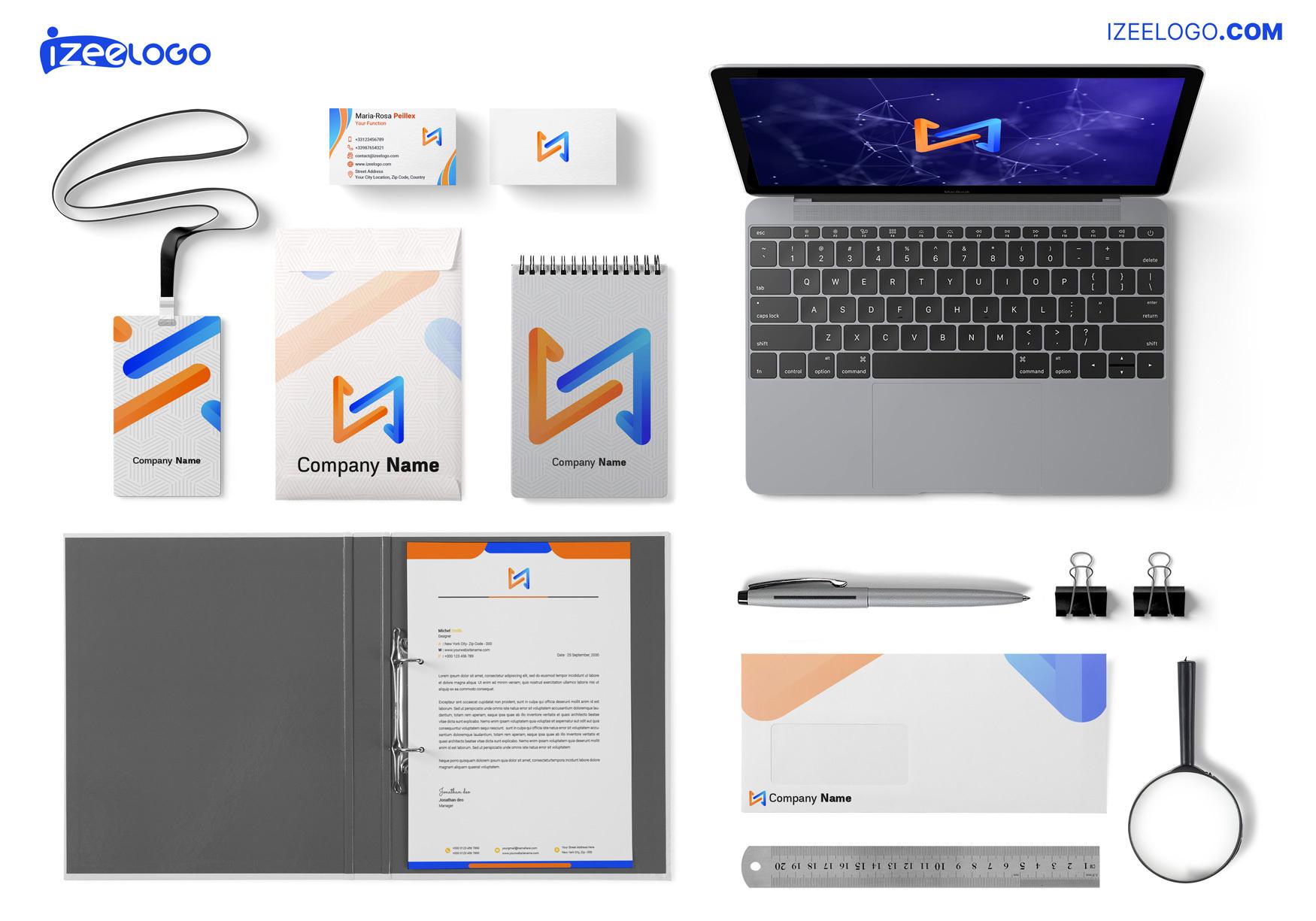Aquí está un mockup para su logo digital, de web, de informática, de tecnología, etc.