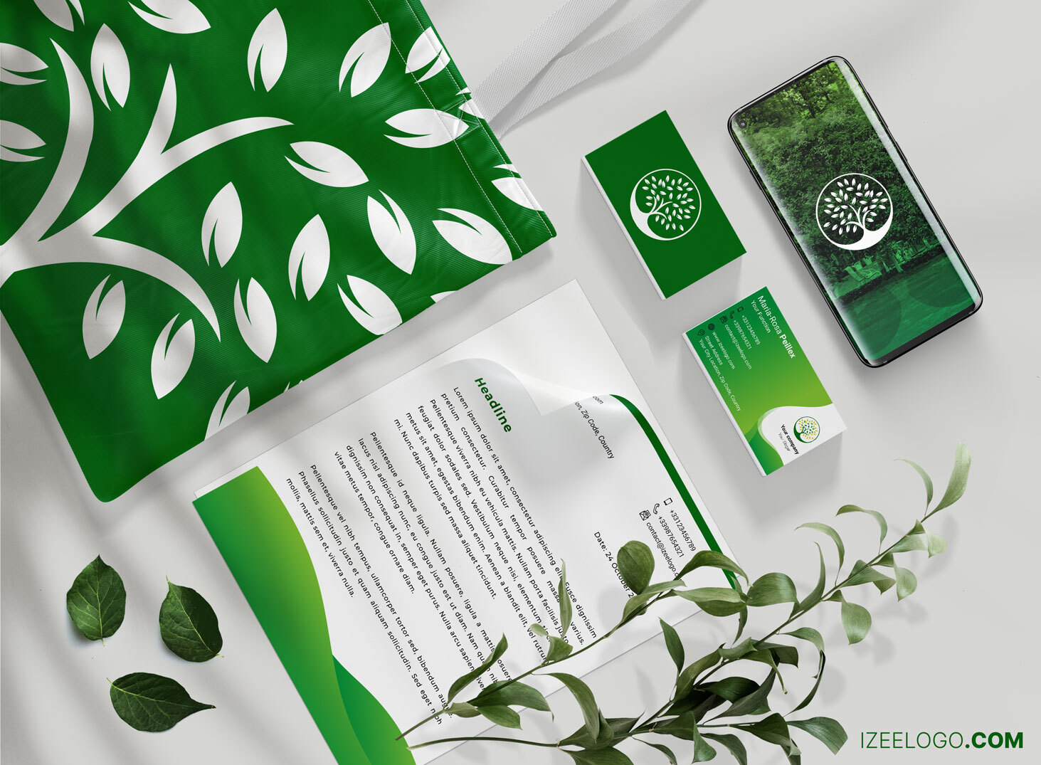 Vous souhaitez bâtir votre identité visuelle ? Logo environnement – écologie sur un Mockup.