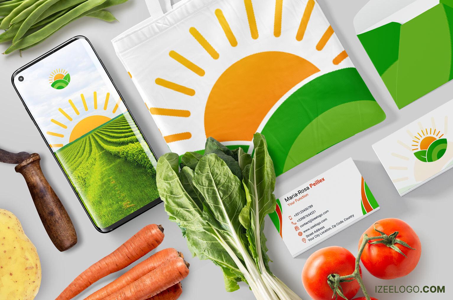 Mockup, branding de marca: crear logo de ganadería y de agricultura para promover marca o empresa.