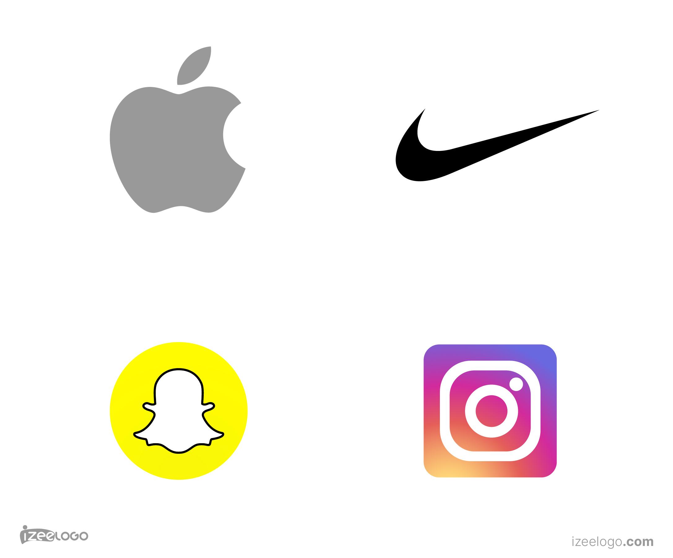 Ideas de logos isotipo: logo Apple, logo Nike, logo Snapchat, logo Instagram