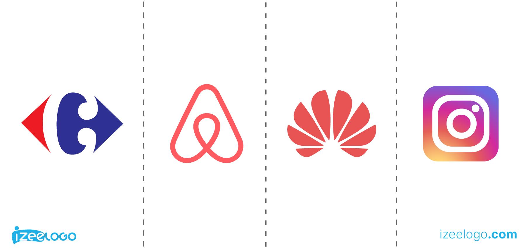 Exemples de logo abstrait : logo Carrefour PNG, logo Airbnb PNG, logo Huawei et logo Instagram PNG.