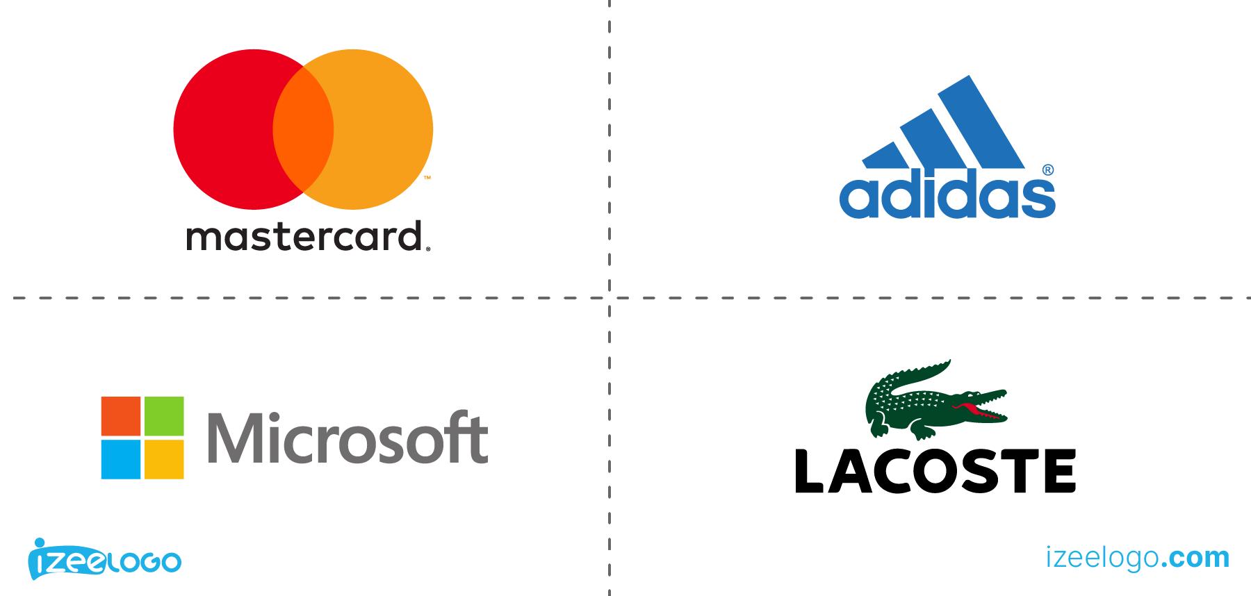 Exemples de logo combiné : logo Mastercard, logo Lacoste PNG, logo Microsoft PNG et logo Adidas PNG.