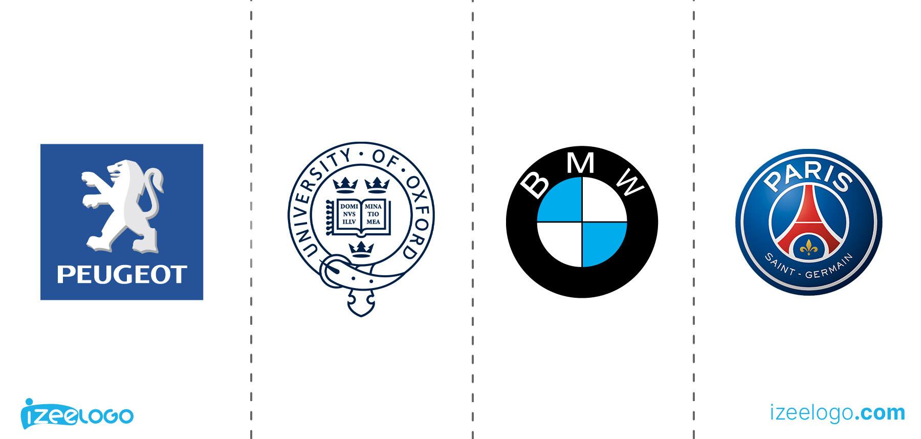 Exemples de logo emblème : logo PSG PNG, logo Peugeot PNG, logo BMW PNG et Oxford University logo.