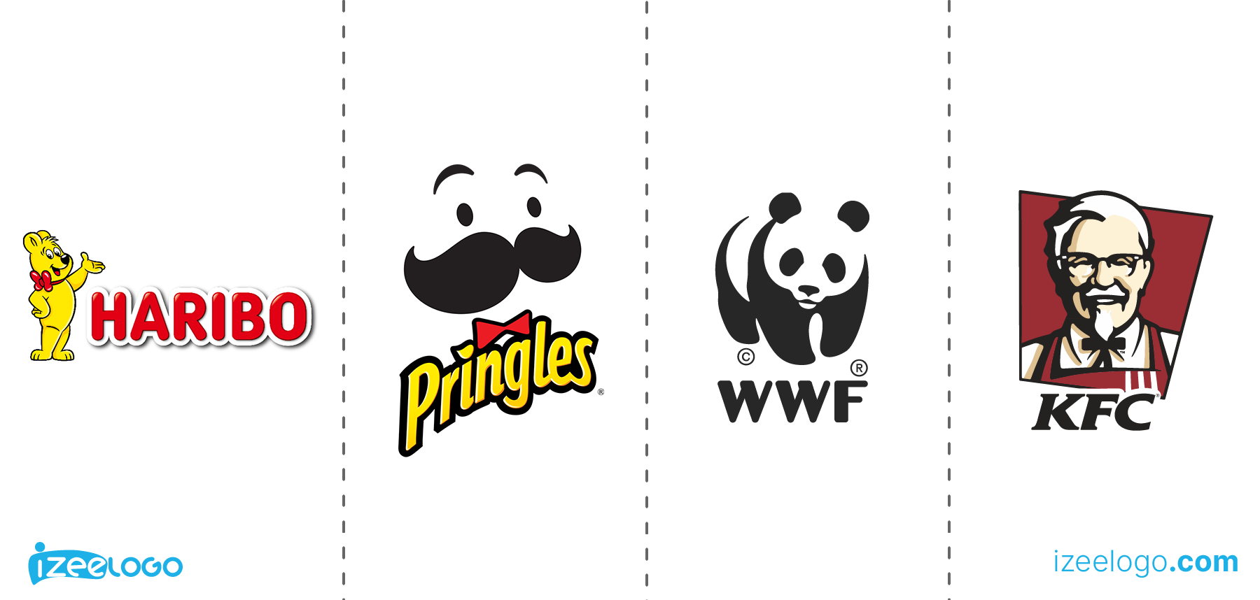 Exemples de logo mascotte : logo Haribo PNG, logo Pringles PNG, logo WWF PNG et logo KFC PNG.