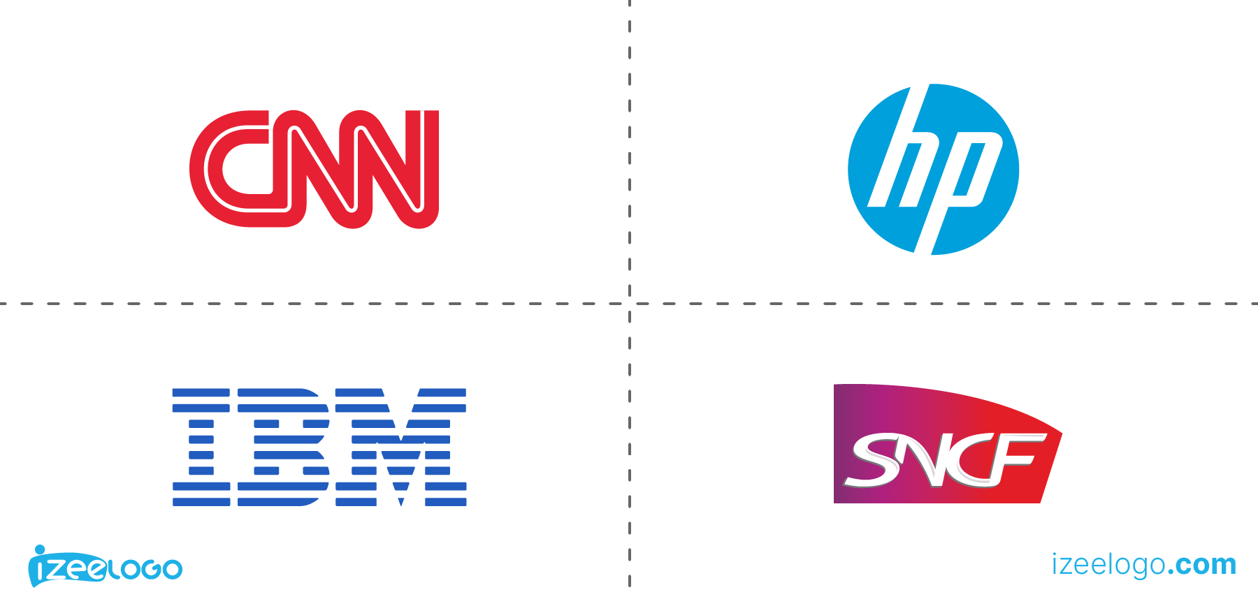 Exemples de logo monogramme : logo CNN, logo IBM, logo HP PNG et logo SNCF PNG.