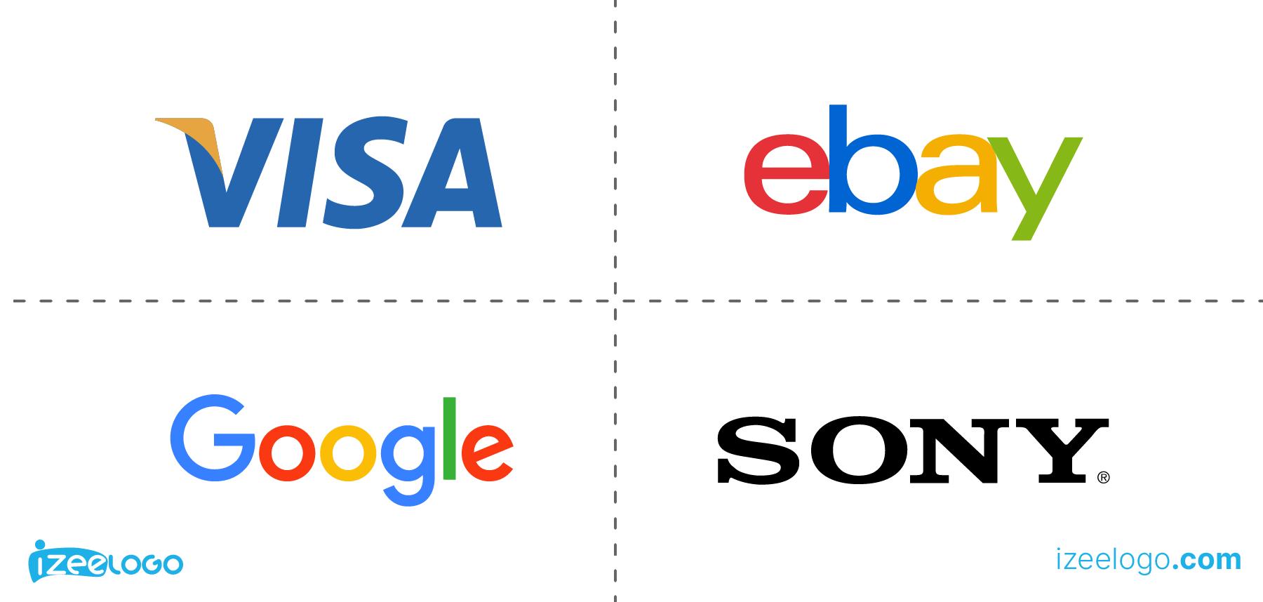 Exemples de logo mot-symbole : logo Google PNG, logo Visa PNG, logo eBay PNG et logo Sony PNG.