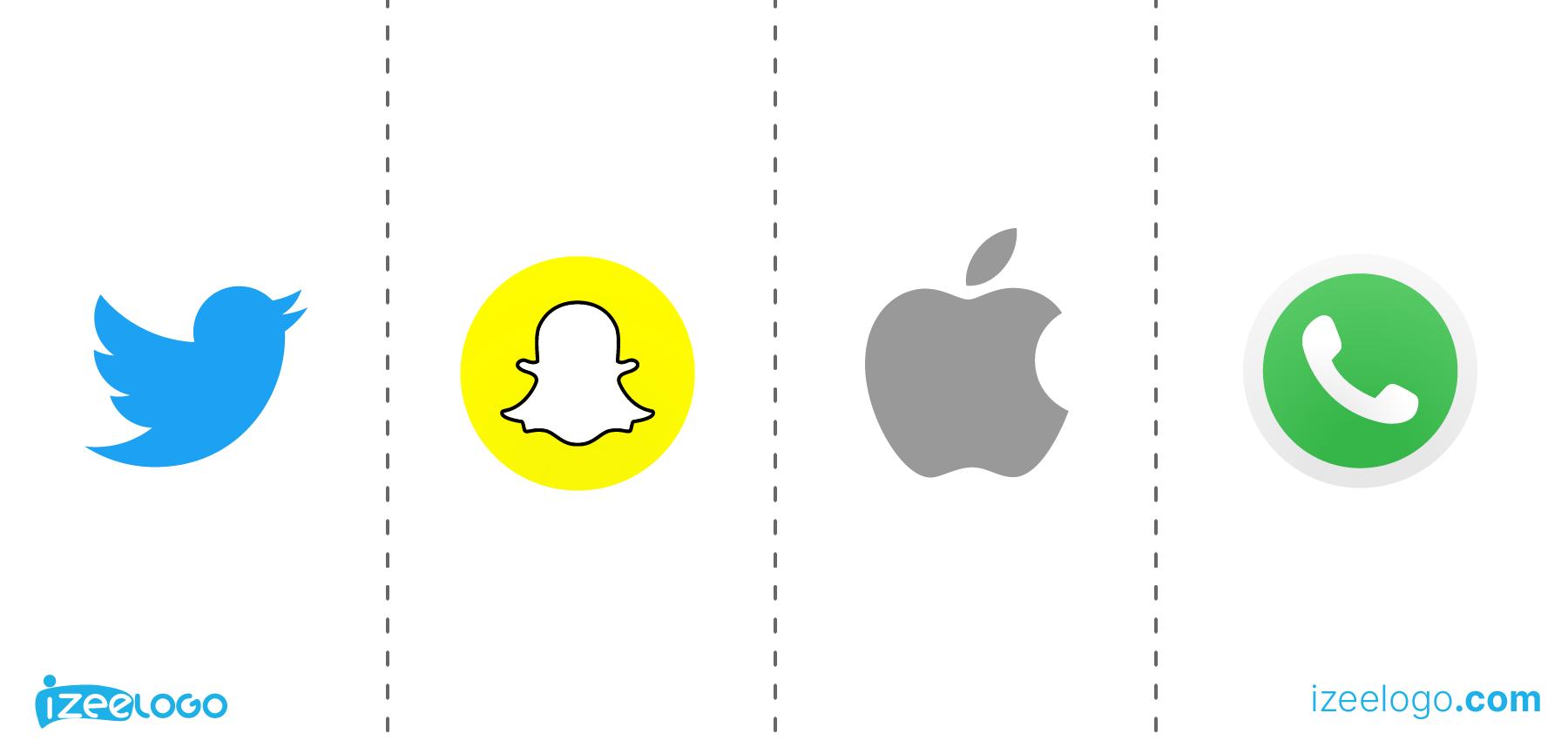 Logo pictogramme : logo Apple PNG, logo Twitter PNG, logo WhatsApp PNG et logo Snapchat PNG.